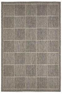 Grey Check Flat Weave Rug