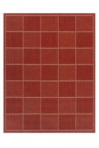 Red Check Flat Weave Rug