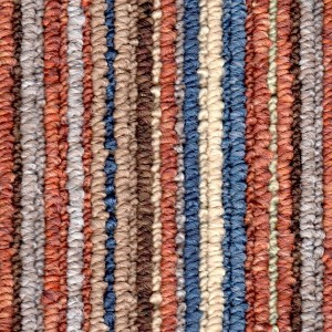 Terracotta Coloured Striped Carpet
